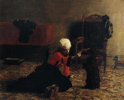 Eakins Thomas Elizabeth Crowell with a Dog