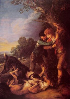 Shepherd Boys with Dogs Fighting