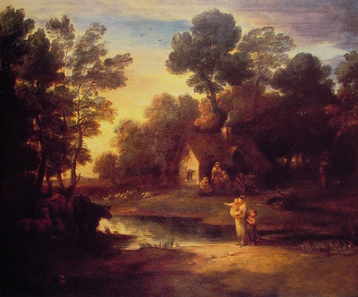 Wooded Landscape with Cattle by a Pool and a Cottage
