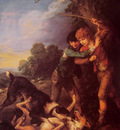 Shepherd Boys with Dogs Fighting
