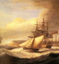Luny Thomas Naval Ships setting Sail With A Revenue Cutter Off Berry Head