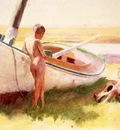 Anschutz Thomas P Two Boys by a Boat