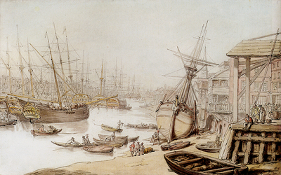Rowlandson Thomas A View On The Thames With Numerous Ships And Figures On The Wharf