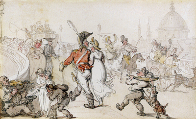 Rowlandson Thomas Elegant Company On Blackfriars Bridge