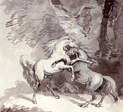 Rowlandson Thomas Horses Fighting On A Woodland Path