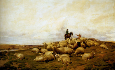 Cooper Thomas Sidney A shepherd With His Flock