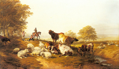 Cooper Thomas Sidney Cattle And Sheep Resting In An Extensive Landscape