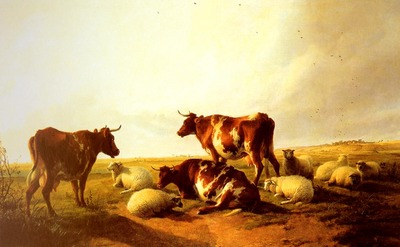 Cooper Thomas Sidney Cattle and Sheep In A Landscape