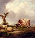 Cooper Thomas Sidney A Cow With Sheep In A Landscape