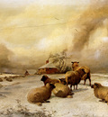 Cooper Thomas Sidney Sheep In A Winter Landscape