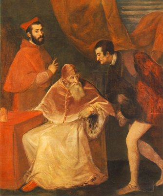 Titian Pope Paul III and his Cousins Alessandro and Ottavio Farnese