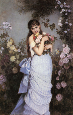 Toulmouche Auguste A Young Woman In A Rose Garden
