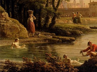 Vernet Claude Joseph Landscape With Bathers detail