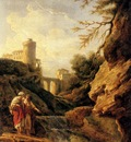 Vernet Claude Joseph Two Female Peasants By A Waterfall