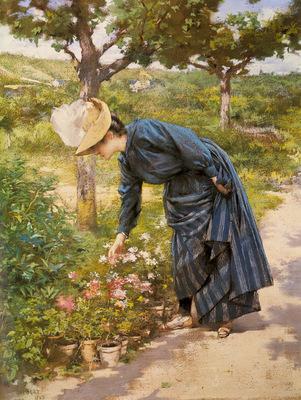Gilbert Victor Gabriel Lady In A Garden
