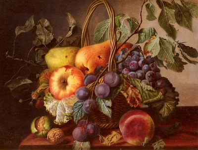 Sartorius Virginie de A Still Life With A Basket Of Fruit