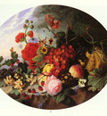 Sartorius Virginie de STILL LIFE WITH FRUIT AND FLOWERS ON A ROCKY LEDGE