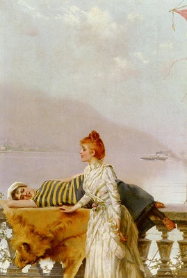 Corcos Vittorio Matteo On The Balcony