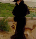 Corcos Vittorio Matteo An Elegant Lady With Her Faithful Companion By The Beach