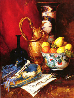 Vollon Antoine A Stiil Life With A Bowl Of Fruit
