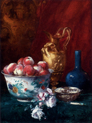 Vollon Antoine Still Life With Peaches