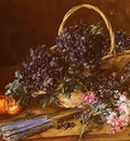 Vollon Antoine A Still Life With A Basket Of Flowers