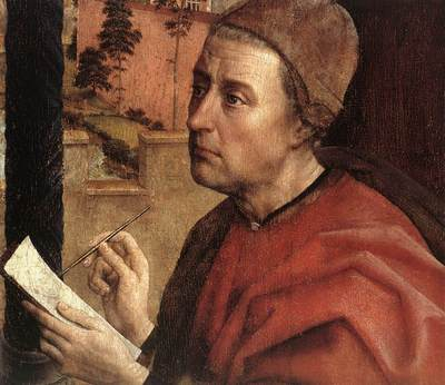 Weyden St Luke Drawing a Portrait of the Madonna detail1