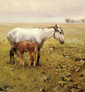 Wierusz Kowalski Alfred Von A Mare And Her Foal In A Landscape