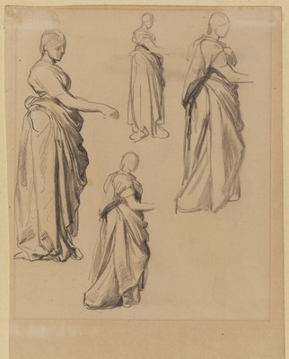Watts George Frederick Four studies of a draped female figure