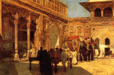 Weeks Edwin Lord Elephants and Figures in a Courtyard Fort Agra