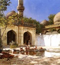 Weeks Edwin Lord Figures in the Courtyard of a Mosque