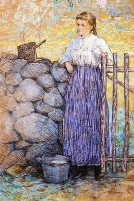 Weir Julian Alden Girl Standing by a Gate