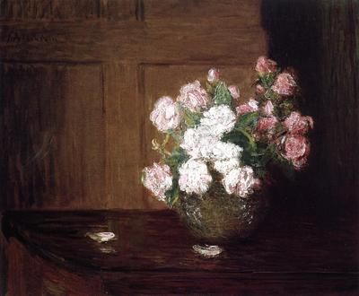 Weir Julian Alden Roses in a Silver Bowl on a Mahogany Table