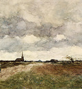 Weissenbruch Jan Hendrik Figures On A Country Road A Church In The Distance
