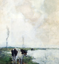 Weissenbruch Johannes Hendrik A Cow Standing By The Waterside In A Polder