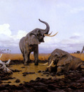 Kuhnert Wilhelm In The Twilgiht Elephants