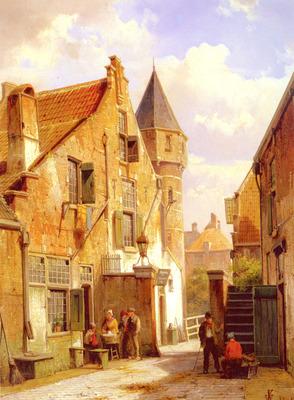 Koekkoek Willem A Street Scene In Leiden