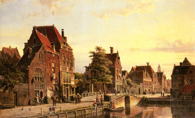Koekkoek Willem Figures By A Canal In A Dutch Town