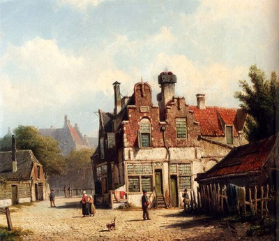 Koekkoek Willem Houses Along A Village Street In Summer
