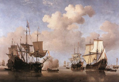 VELDE Willem van de the Younger Calm Dutch Ships Coming To Anchor
