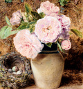 Hunt William Henry Still Life With roses In A vase And A Birds Nest