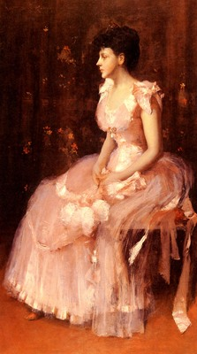 Chase William Merritt Portrait Of A Lady In Pink