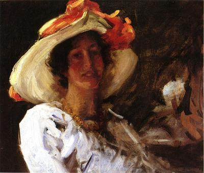 Chase William Merritt Portrait of Clara Stephens Wearing a Hat with an Orange Ribbon