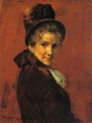 Chase William Merritt Portrait of a Woman black bonnet