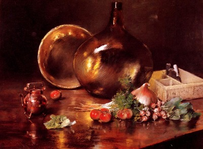 Chase William Merritt Still Life Brass and Glass