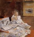 Chase William Merritt Child with Prints