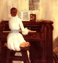 Chase William Merritt Mrs Meigs At The Piano Organ