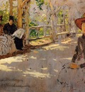 Chase William Merritt Women under Trellis unfinished