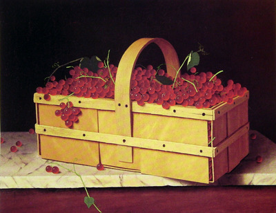 A Wooden Basket of Catawba Grapes
