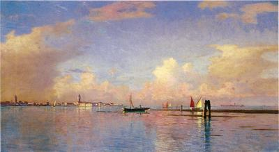 Haseltine William Stanley Sunset on the Grand Canal Venice